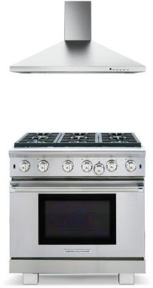 2 Piece Kitchen Appliances Package with ARROB636L 36″ Liquid Propane Range and CLAS36SS600B 36″ Wall Mount Convertible Hood in Stainless