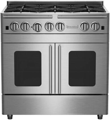 RNB366BPMV2L 36 Precious Metals Series Liquid Propane Gas Range with 6 Burners  and Unique French Door Extra Large Convection Oven  in Precious