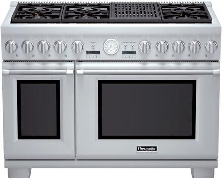 Thermador Pro Grand PRD486NLGU Slide-In Dual Fuel Range Stainless Steel, PRD486NLGU 48-Inch Dual-Full Range with Grill
