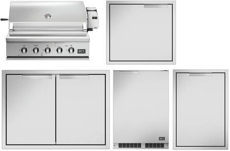 5 Piece Grill Package with 36″ Liquid Propane Grill  24″ Access Door  30″ Storage Drawer  Trash Drawer and 24″ Compact Refrigerator in Stainless