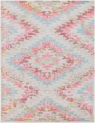 "Anika ANI-1026 7'10"" x 10'2″ Rectangle Rustic Rugs in White  Beige  Charcoal  Aqua  Bright Pink  Bright Red  Saffron"