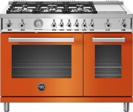Bertazzoni Professional PROF486GGASARTLP Freestanding Gas Range Orange, Main Image