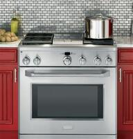 "Largest all-gas professional oven capacity available in the 36"" professional gas range category"