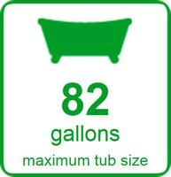 82 Gallons Maximum Tub Size