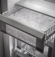 Removable ice storage and multiple slide-out bins
