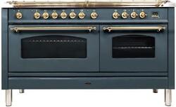 Ilve Nostalgie UPN150FDMPGU Freestanding Dual Fuel Range Blue Grey