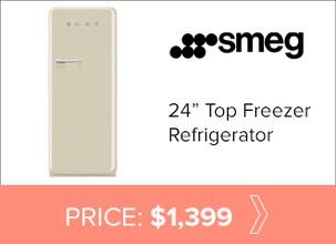 Smeg 24 inch top freezer refrigerator for $1,399