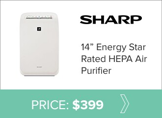 Sharp 14 inch Energy Star rated HEPA air purifier for $399