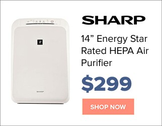 Sharp 14 inch Energy Star rated HEPA air purifier for $299