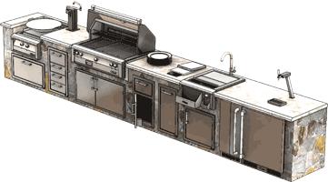 Alfresco Outdoor Kitchen and Entertaining Luxury Mid Sized Island