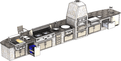 Alfresco Outdoor Kitchen and Entertaining Luxury Large Island