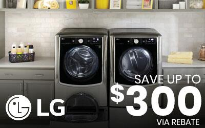 Save up to $300 via rebate on LG Laundry