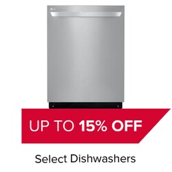 Up to 15% Off Select Dishwashers.