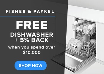 Free Dishwasher plus 5% Back when you spend over $10,000 on Fisher and Paykel Appliances