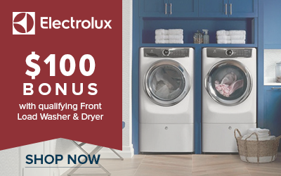 $100 Bonus with qualifying Front Load Washer and Dryer Sets from Electrolux