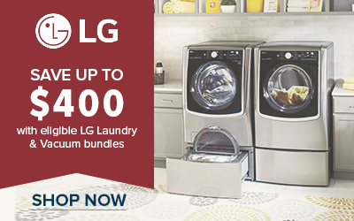 Save up to $400 with eligible LG Laundry and Vacuum Bundles
