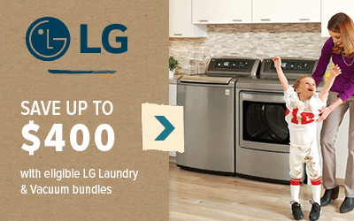 LG Save up to $400 with eligible LG Laundry and Vacuum bundles