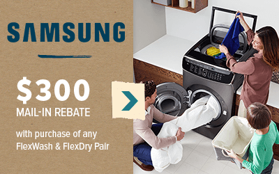 Samsung Laundry $300 mail-in rebate with purchase of any FlexWash and FlexDry Pair