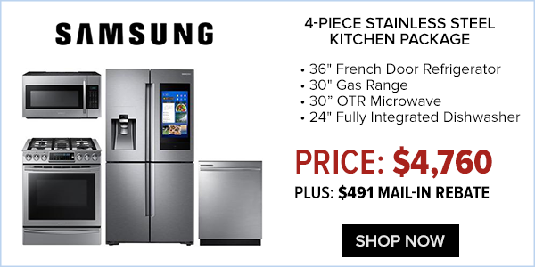 Samsung 4 piece stainless steel kitchen package