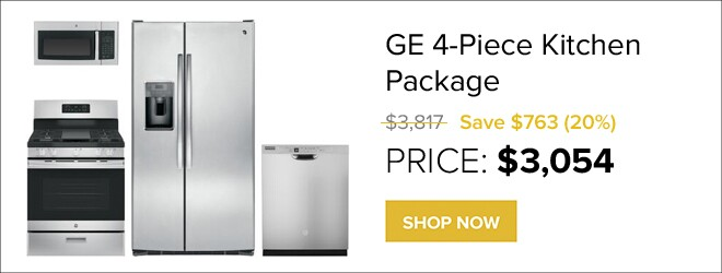 GE 4-Piece Kitchen Package for $3,054. Shop Now.