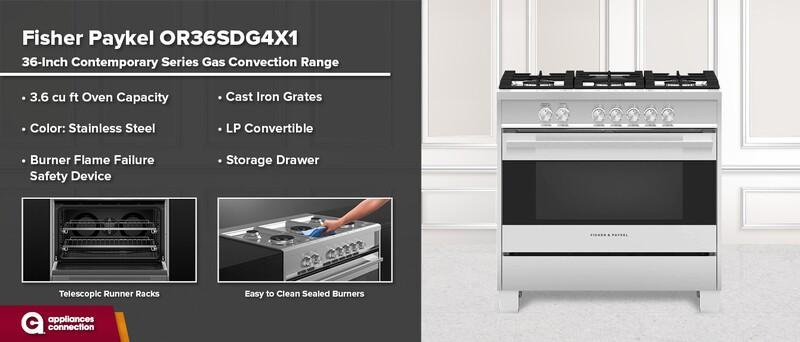 Fisher & Paykel OR36SDG6X1 36-Inch Freestanding Dual Fuel Range
