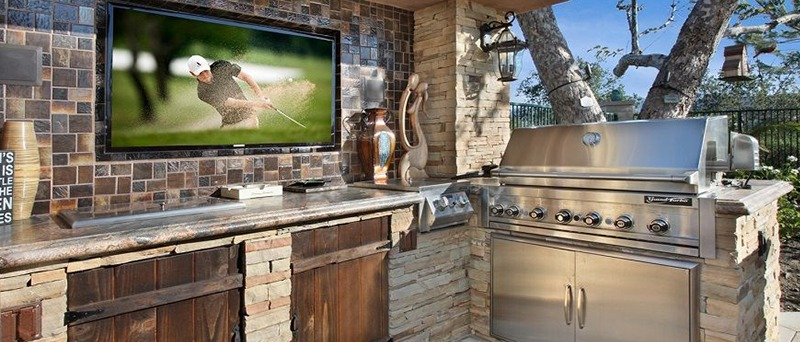 Outdoor Kitchen with Built-In Television