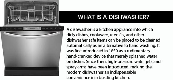 Your Guide to Dishwashers: What is a Dishwasher? - A dishwasher is a kitchen appliance into which dirty dishes, cookware, utensils, and other dishwasher safe items can be placed to be cleaned automatically as an alternative to hand washing. It was first introduced in 1850 as a rudimentary hand-cranked device that merely splashed water on dishes. Since then, high-pressure water jets and spray arms have been introduced, making the modern dishwasher an indispensable convenience in a bustling kitchen.