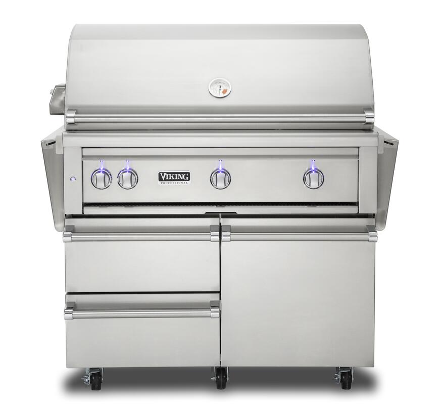 Viking's new freestanding gass grill and cart in stainless steel finish with storage drawers and access doors.