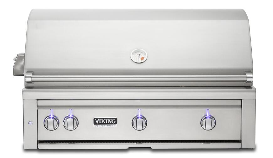 Viking's outdoor built-in gas grill with temperature gauge and control knobs with LED illumination.