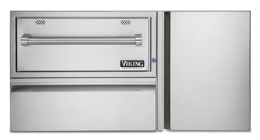 Viking's Convinience Center with 30 inch warming drawer, utility drawer, and LP Tank Storage Cabinet.