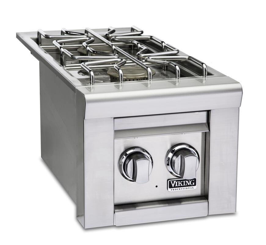 Natural gas double side burners in stainless steel finish with two control knobs.