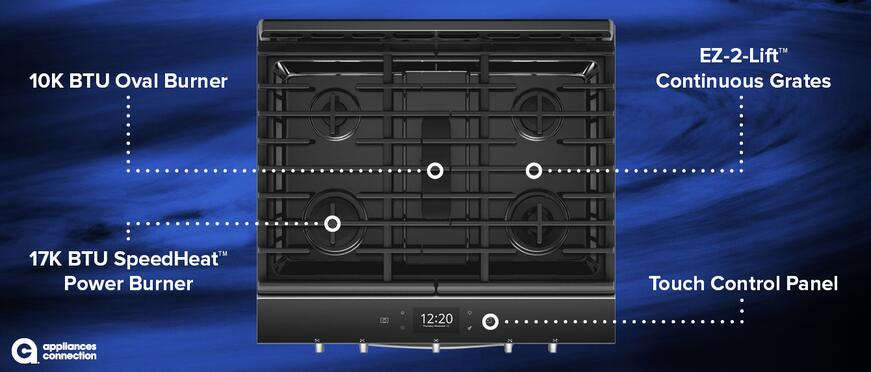 WEG750H0HZ 30-Inch Smart Freestanding Natural Gas Range Cooktop Features