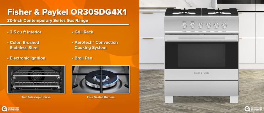 Best Black Friday Deals on Fisher & Paykel Gas Ranges: Fisher Paykel OR30SDG4X1 Professional Gas Range Features