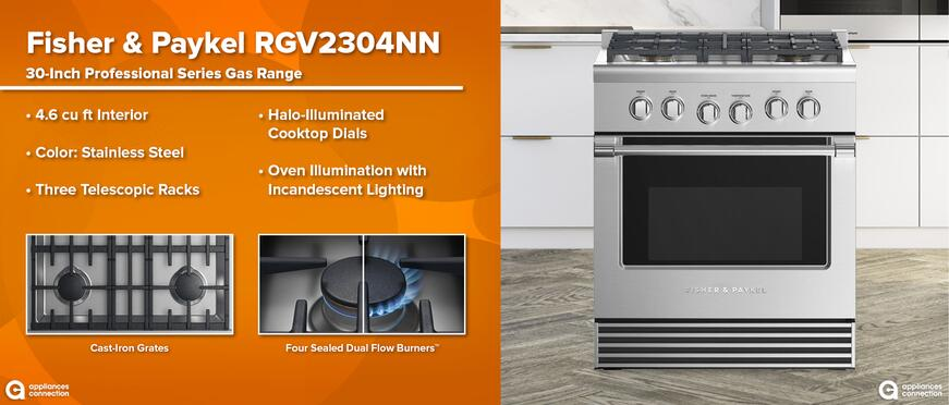Best Black Friday Deals on Fisher & Paykel Gas Ranges: Fisher Paykel RGV2304NN Professional Gas Range Features