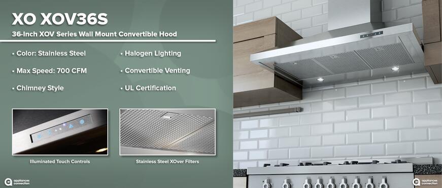 XO Luxury Range Hoods: XO XOV36S 36-Inch Wall Mount Convertible Hood Features