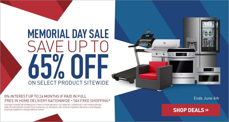 Memorial Day Savings Up to 65% Off Select Kitchen and Laundry Appliances