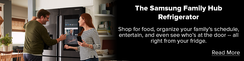 The Samsung Family Hub Refrigerator. Shop for food, organize your family's schedule, entertain, and even see who's at the door -- all right from your fridge. Read More