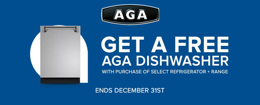 AGA Free Dishwasher Promotion with purchase of select AGA range and Marvel refrigerator